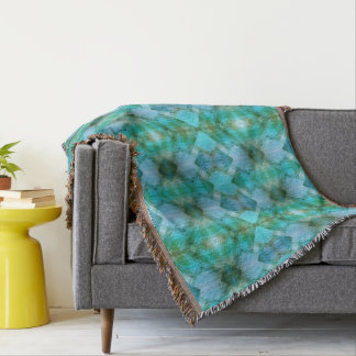 Mint Aztec Geometric Pattern Throw Blanket