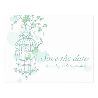 Mint birds open cage wedding save the date card postcard