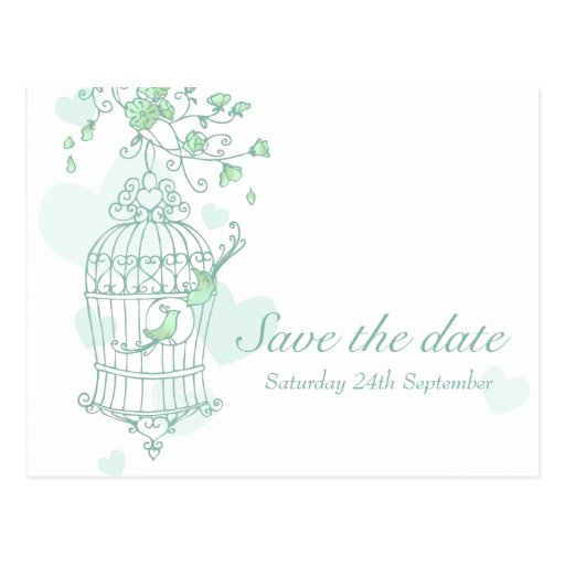 Mint birds open cage wedding save the date card post cards