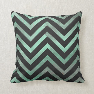 Mint Black Chevron Throw Pillow