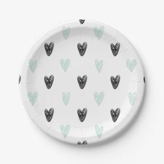 Mint & Black Hearts Doodles Pattern Paper Plates