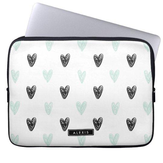 Mint & Black Hearts Doodles Pattern Personalised Laptop Sleeve