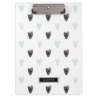 Mint & Black Hearts Doodles Pattern Personalized Clipboard