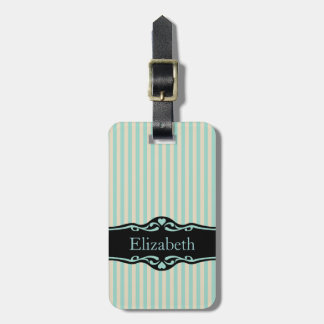 Mint Blue And Beige Striped Personalized Design Bag Tag