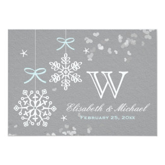 Mint Blue and Gray Snowflake Wedding Invitations