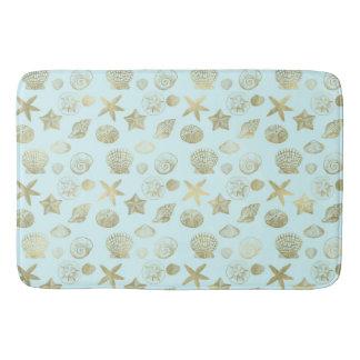 Mint Blue Gold Sea Shells Bath Mat