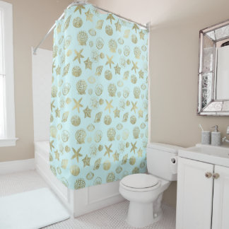 Mint Blue Gold Sea Shells Shower Curtain