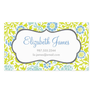 Mint Blue & Green Retro Floral Damask Business Cards