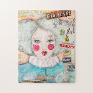 Mint Blue Hair Clown Collage Art Pastel Artistic Jigsaw Puzzle