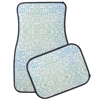 Mint Blue Leopard Pastel Kawaii Animal Print Green Car Mat