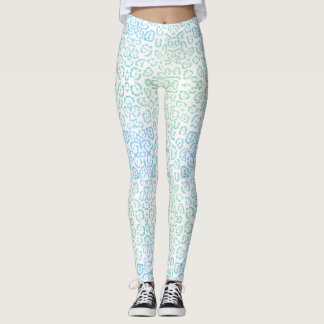 Mint Blue Leopard Pastel Kawaii Animal Print Green Leggings