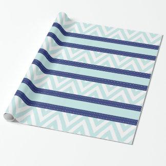 Mint Blue & Navy Stripes Chevron Pattern Wrapping Paper