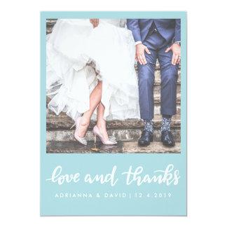 Mint Blue | Photo Wedding Love And Thanks Script Card