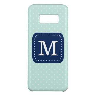 Mint Blue Polka Dot Pattern With Custom Monogram Case-Mate Samsung Galaxy S8 Case