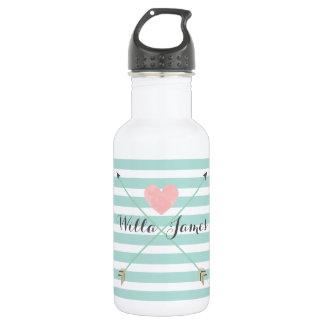 Mint Blue Stripe Arrow Monogram Water Bottle