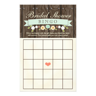 Mint Boho Rustic Bridal Wedding Shower Bingo Sheet