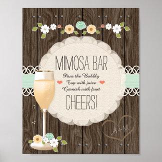 Mint Boho Rustic Wedding Bridal Shower Mimosa Bar Poster