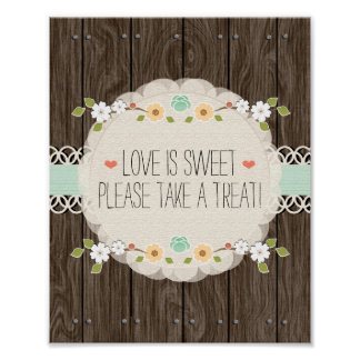 Mint Boho Rustic Wedding Shower Candy Bar Sign
