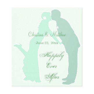 Mint Bride and Groom Canvas Print