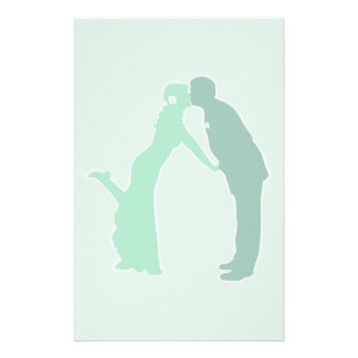 Mint Bride and Groom Personalized Stationery