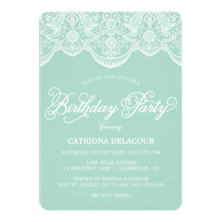Mint Brocade Lace Birthday Party Invitation