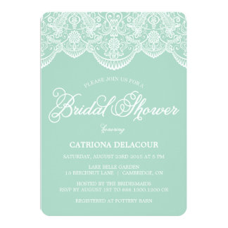 Mint Brocade Lace Bridal Shower Invitation