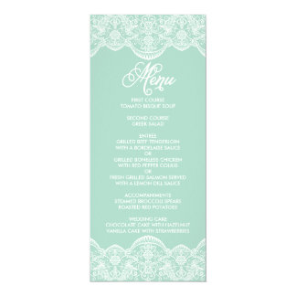 Mint Brocade Lace Wedding Menu Card
