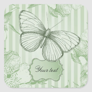 Mint Butterfly Square Stickers