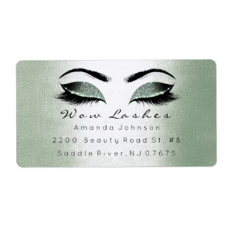 Mint Cali Green Glitter Makeup Lashes Extension Shipping Label