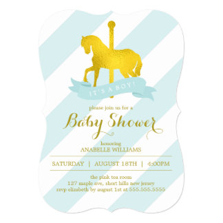 Mint Carousel Horse Baby Shower 13 Cm X 18 Cm Invitation Card