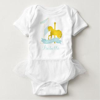 Mint Carousel Horse Birthday Girl Baby Bodysuit