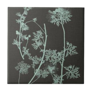 Mint & Charcoal Nature Study IV Small Square Tile