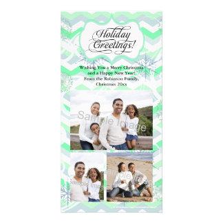 Mint Chevron Holiday Photo Card