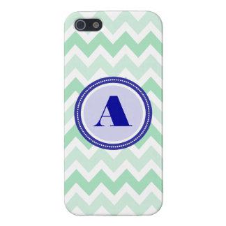 Mint Chevron Monogram Case For iPhone 5/5S