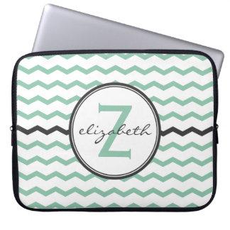 Mint Chevron Monogram Laptop Sleeves