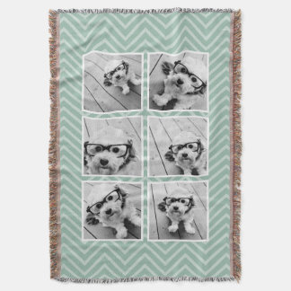 Mint Chevron Pattern with Trendy 6 Photo Collage