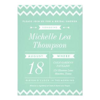 Mint Chevron Stylish Bridal Shower Invitations