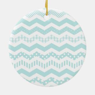 Mint Chevron with a twist Round Ceramic Decoration