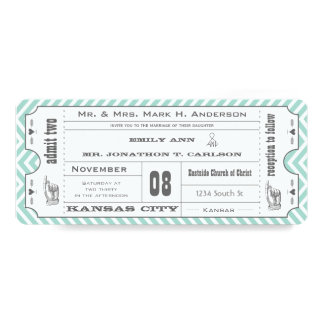 Mint Chevron Zigzag Vintage Modern Ticket Wedding Card