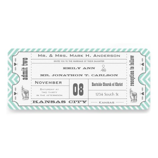 Mint Chevron Zigzag Vintage Modern Ticket Wedding Personalized Invitation