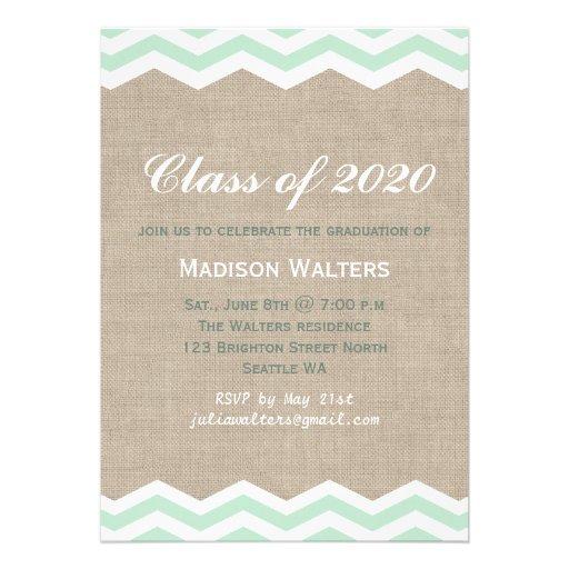 Mint Chevrons on Burlap Graduation Invitation