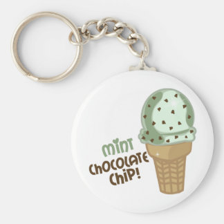 Mint Chocolate Chip with text Basic Round Button Key Ring