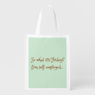 Mint Chocolate Funny Self Employed Typography Reusable Grocery Bag