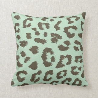 Mint Chocolate Leopard Print Pillow