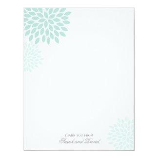 Mint Chrysanthemums Flat Thank You Notes Card