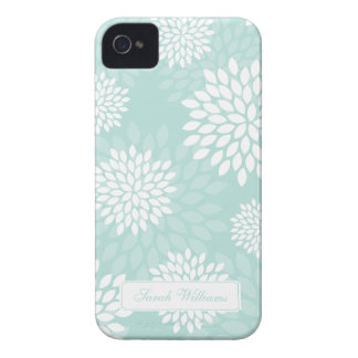 Mint Chrysanthemums Floral Pattern iPhone 4 Case-Mate Case