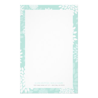 Mint Chrysanthemums Floral Pattern Stationery