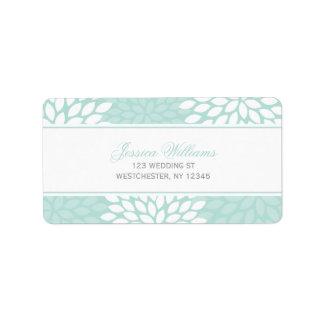 Mint Chrysanthemums Wedding Label
