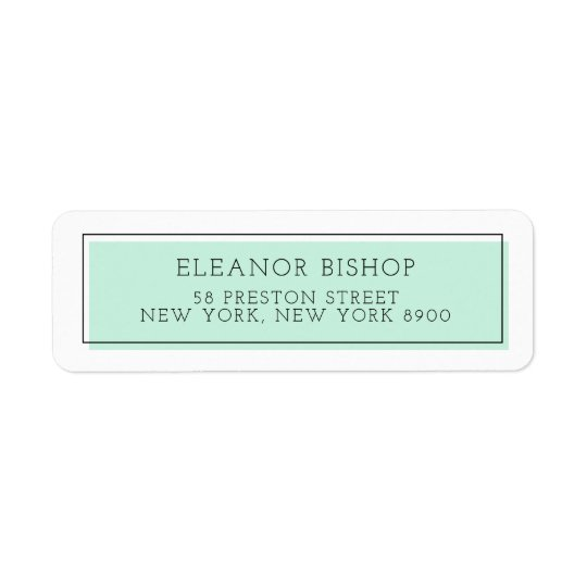Mint Colour Block Minimalist Return Address Label