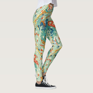 Mint Coral and Blue Horse and Floral Pattern Leggings